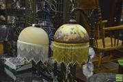Sale 8307 - Lot 1026 - Two Glass Shaded Beaded Standard Lamps