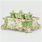 Sale 8342 - Lot 23 - Continental Hand Painted Ceramic Partners Inkwell Desk Set
