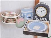 Sale 8369A - Lot 29 - Five pieces of Wedgwood including clock, pin dishes etc