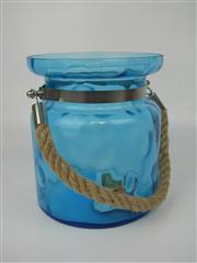 Sale 8451B - Lot 92 - Aqua Lantern Holder, with rope handle (H:20cm)