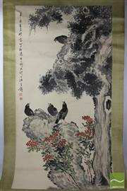 Sale 8505 - Lot 18 - Bird Themed Chinese Scroll