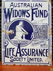 Sale 8566 - Lot 1088 - Enamel Widows Fund Sign