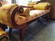 Sale 8566 - Lot 1404 - Inlaid Gilt Upholstered Chaise with Ebonised and Gilt Highlights (184 x 70)