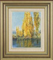 Sale 8753 - Lot 2050 - Charmian Una McGregor (1914 - 2011) - Poplars at the Hatchery, Jindabyne 24 x 19cm