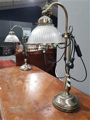 Sale 8889 - Lot 1049 - Pair of Metal Table Lamps with Glass Shades