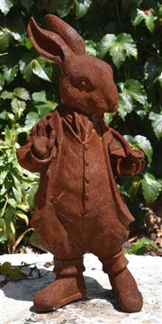 Sale 8950G - Lot 82 - Cast iron statue of Bouncer bunny from Beatrix Potters Peter Rabbit 47cm height