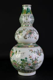 Sale 8977 - Lot 68 - A Large Chinese Famille Verte Gourd Shape Vase Decorated with Floral and Insects (H 47cm)