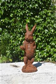 """Sale 9087H - Lot 207 - A cast iron statue of the """"white rabbit"""" from Alice in Wonderland. 50cm height"""