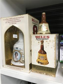 Sale 9101 - Lot 2293 - Bells 750ml Wade Whiskey Decanter, Commemorating the 60th Birthday of Her Majesty Queen Elizabeth II, 21st April 1986 in box; Bells