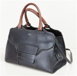Sale 9120K - Lot 48 - A Giorgio Armani black calf leather handbag; in three sections, with brown handles