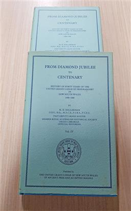 Sale 9180 - Lot 2027 - Volumes 4 & 5 Kellerman, M.H. From Diamond Jubilee to Centenary, history of forty years of the United Grand Lodge of Freemasonry in...