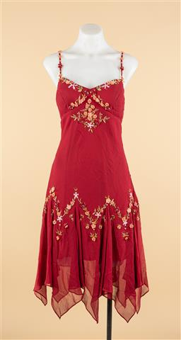 Sale 9250F - Lot 83 - An Alannah Hill red dress with floral embroidery and spaghetti straps, size 12.