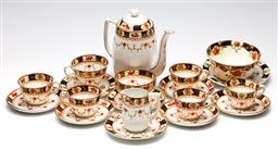 Sale 9246 - Lot 8 - An early handpainted Melba bone china tea setting incl. seven duos, one sugar bowl and plate, one teapot (H:19cm), and one creamer a...