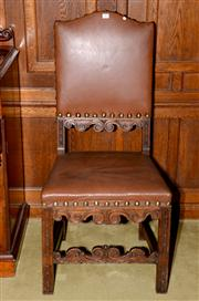 Sale 8015A - Lot 8 - An Antique carved oak camel back brass studded tan leather upholstered hall chair C: 1890