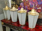 Sale 8205 - Lot 46 - A set of four brass and opaque glass lanterns of tapered hexagonal form, three A/F total H 76cm