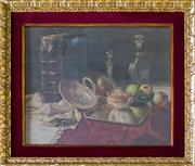 Sale 8444A - Lot 24 - E Mayer - Still Life with Book, Candlestick and Decanter 42 x 33cm