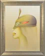 Sale 8266 - Lot 538 - Paul Wunderlich (1927 - 2010) - Masked Woman 90.5 x 71.5cm