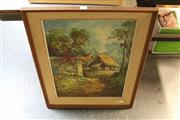 Sale 8325A - Lot 43 - Artist Unknown (XX) - Village Scene 56.5 x 41.5cm