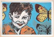 Sale 8427 - Lot 547 - David Bromley (1960 - ) - Boy with Butterflies 60 x 91cm