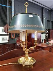 Sale 8598 - Lot 1012 - Empire Style Brass Bouilotte Lamp, the black tole shade with laurel band, three branches below with faux candle lights & drip tray