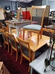 Sale 8934 - Lot 1096 - Modern Timber Dining Setting incl. Marquetry Top Extension Table with Single Leaf & Eight Chairs with Metal Rail Back
