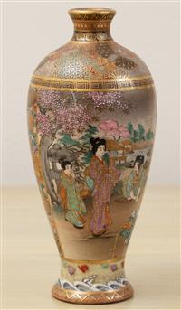 Sale 8963H - Lot 9 - A satsuma vase painted with bijin and attendents and a samurai with companion to reverse, signed to base, Height 15cm