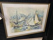 Sale 9008 - Lot 2013 - Donald Friend, Sailing Boats, photolithograph, ed. 25/50, frame: 54 x 71 cm, signed lower right