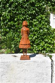 """Sale 9087H - Lot 209 - A cast iron statue of """"Alice"""" from Alice in Wonderland. 60cm height"""