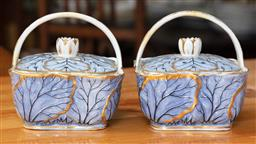 Sale 9120H - Lot 168 - A pair of English porcelain pot pourri baskets with blue cabbage leaf gilt decoration, bearing the BADA sticker, circa 1810 Height 1...