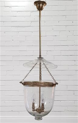 Sale 9215 - Lot 1093 - Antique Style Hundi Ceiling Lantern or Light, with three branch light, brass floral ring & chains (h:90 x d:26cm)