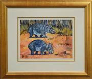 Sale 8068A - Lot 44 - Garry Duncan (1954 -) - Hairy Nosed Wombats 37 x 49cm
