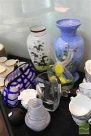 Sale 8217 - Lot 156 - Frosted Glass Posy Vase with Other Glass Wares incl Handbag