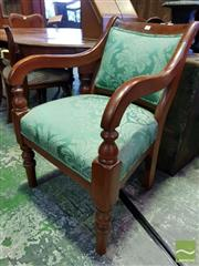 Sale 8539 - Lot 1057 - 19th Century Cedar Armchair, with green floral damask upholstery & on turned legs