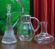 Sale 8677B - Lot 649 - A Waterford cut glass decanter together with an EP and glass water jug, with one other.