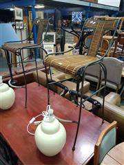 Sale 8669 - Lot 1061 - Pair of Metal Framed Bar Stools with Timber Back & Seat