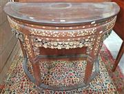 Sale 8939 - Lot 1042 - Good Chinese Carved and Mother of Pearl Inlaid Demi-Lune Side Table, with floral carved apron enhance by mother-of-pearl inlays, the...