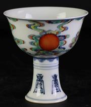 Sale 8985 - Lot 26 - A Chinese Doucai Stem Cup, Character marked to base (H 11.5cm Dia 11cm)