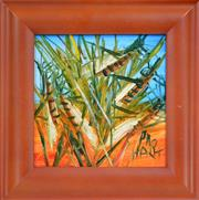 Sale 8162A - Lot 518 - Kevin Charles (Pro) Hart (1928 - 2006) - Grasshoppers 20 x 20cm