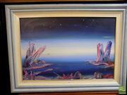 Sale 8407T - Lot 2097 - Rick Badger (XX) - Pink Crystal World 50 x 75.5cm