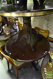 Sale 8472 - Lot 1079 - Pair of Round Timber Table on Single Pedestal Base