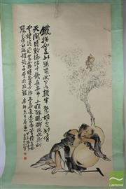 Sale 8505 - Lot 89 - Gourd  and Gentleman Themed Scroll