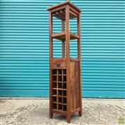 Sale 8649R - Lot 137 - Timber Bar Island with Wine Rack to Base, Single Drawer and Wine Glass Rails (H: 167cm)