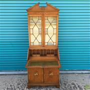 Sale 8649R - Lot 187 - Timber Secretaire Inlaid Bookcase with Leathertopped Dropfront Desk with Central Floral Motifs (H: 201 W: 78.5 D: 49cm)