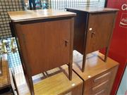 Sale 8705 - Lot 1039 - Pair of Younger Teak Bedside Lockers