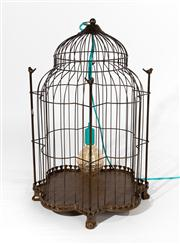Sale 8703A - Lot 10 - A decorative birdcage fitted as a lamp with removable base, H x 72cm