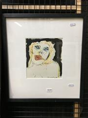 Sale 8771 - Lot 2059 - Murray Walker - Portrait 1975 mixed media, 39 x 37cm (frame), signed -