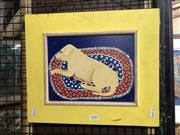 Sale 8856 - Lot 2048 - S Martin Puppy  acrylic on board, 33 x 39cm, signed lower right