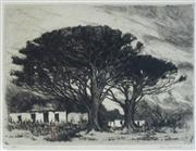 Sale 8901A - Lot 5038 - Nita Spilhaus (1878 - 1967) - Farm Cottages and Trees, Cape Town South Africa, c1920 24 x 17 cm