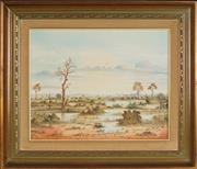 Sale 8945 - Lot 2013 - John Dynon (1954 - ) - After the Rain on the Mundi Mundi via Broken Hill, 1986 39.5 x 49.5 cm (frame: 60 x 70 x 5 cm)