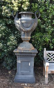 Sale 8972H - Lot 80 - A Superb pair of large swan neck cast iron urns on plinths, Height 2.15m